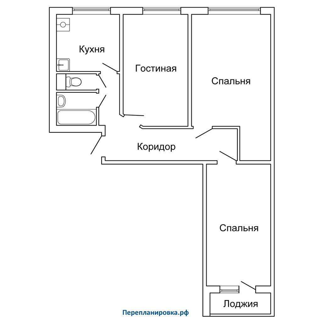 Перепланировка 2 трехкомнатной квартиры ii-49, варианты.