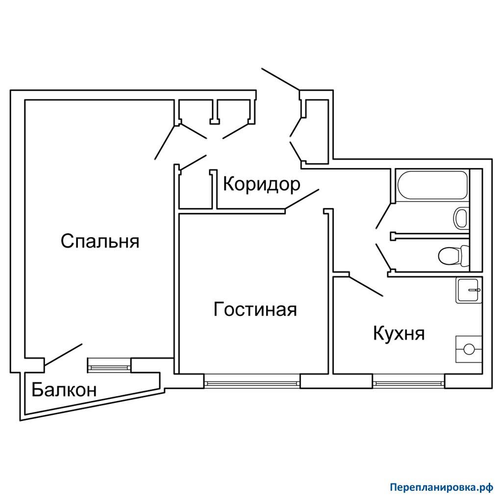 Перепланировка двухкомнатной квартиры ii-57, схема, фото.