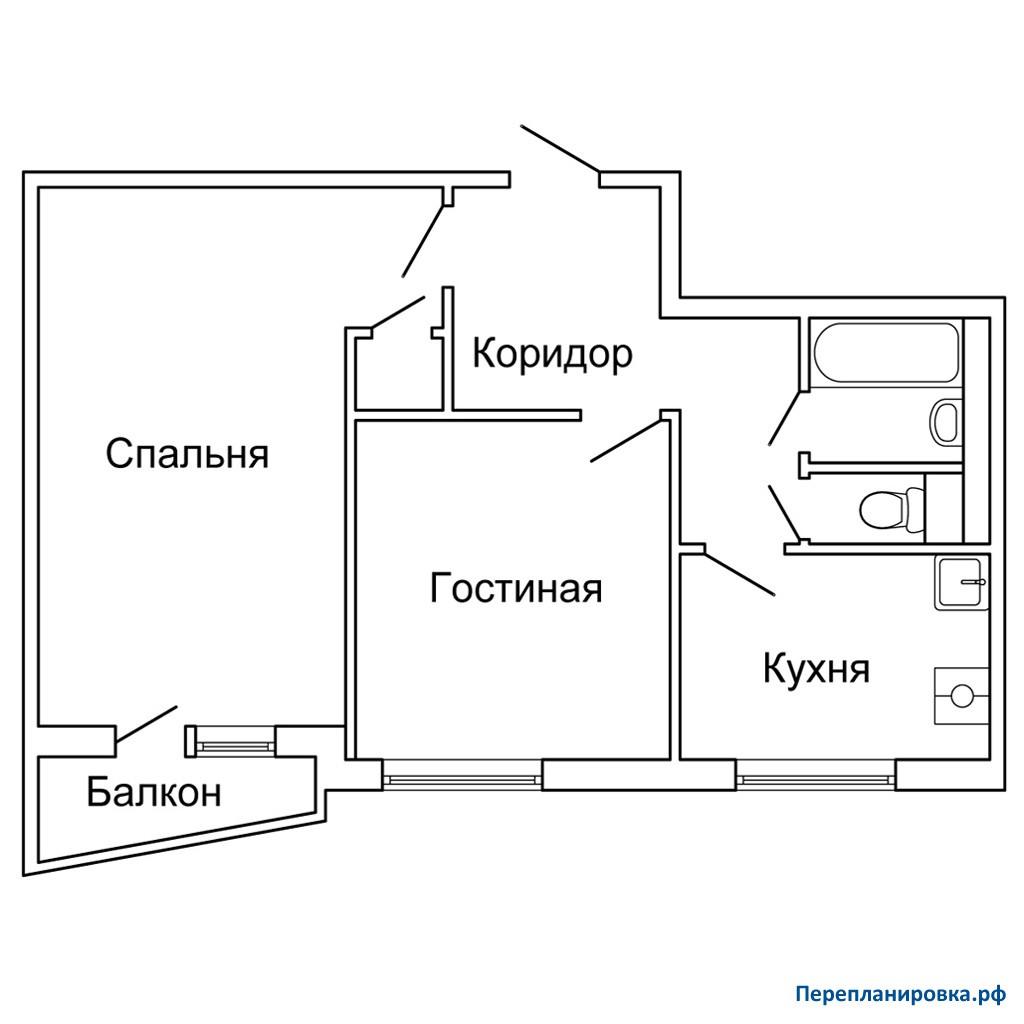 Перепланировка 2 двухкомнатной квартиры ii-57, схема, фото.