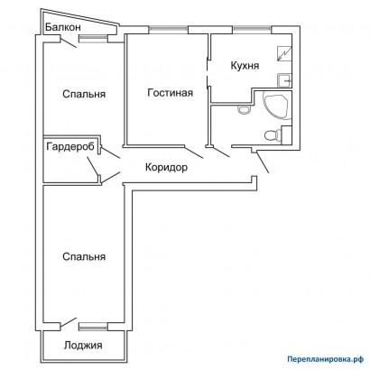 Перепланировка трехкомнатной квартиры ii-57, план, фото.