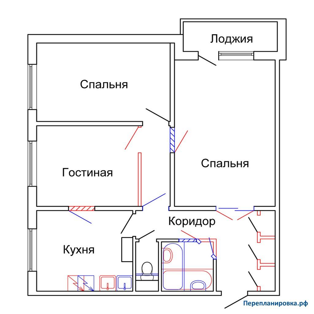 Перепланировка 2 трехкомнатной квартиры п-42, варианты.