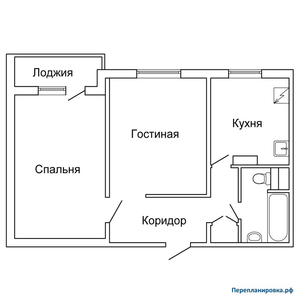 Перепланировка 3 двухкомнатной квартиры п-42, схема, фото.