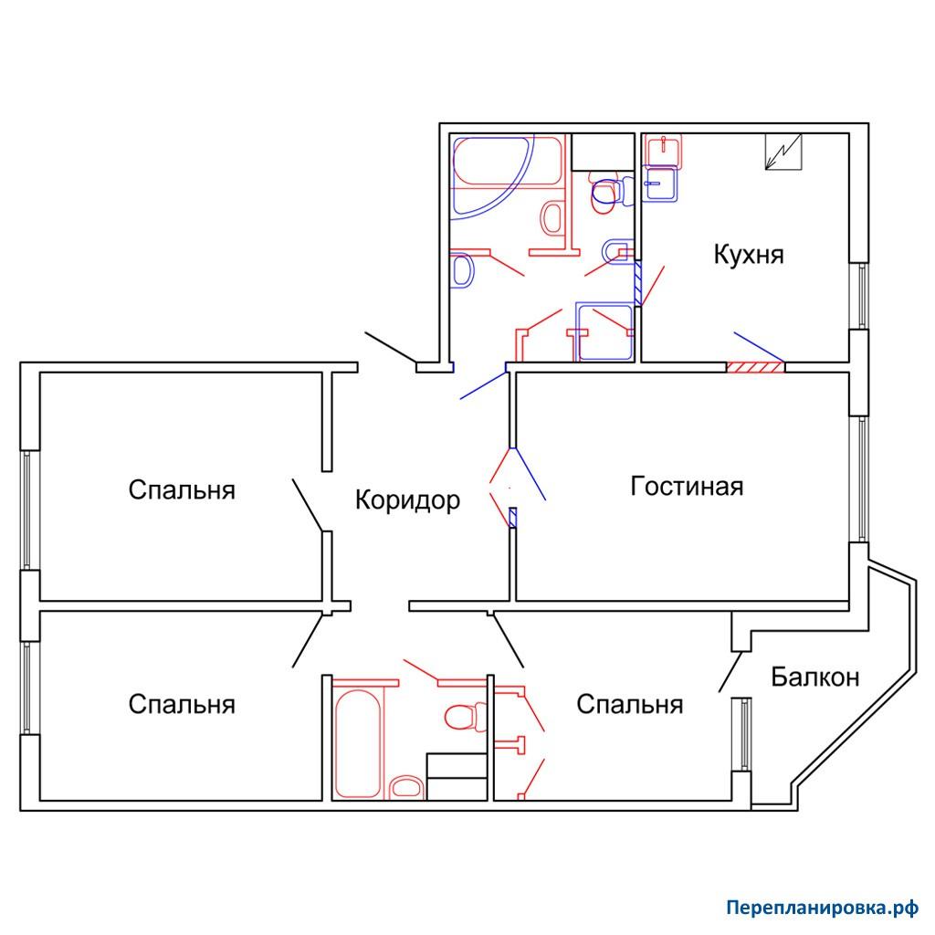 Перепланировка четырехкомнатной квартиры пд-4, план, фото.