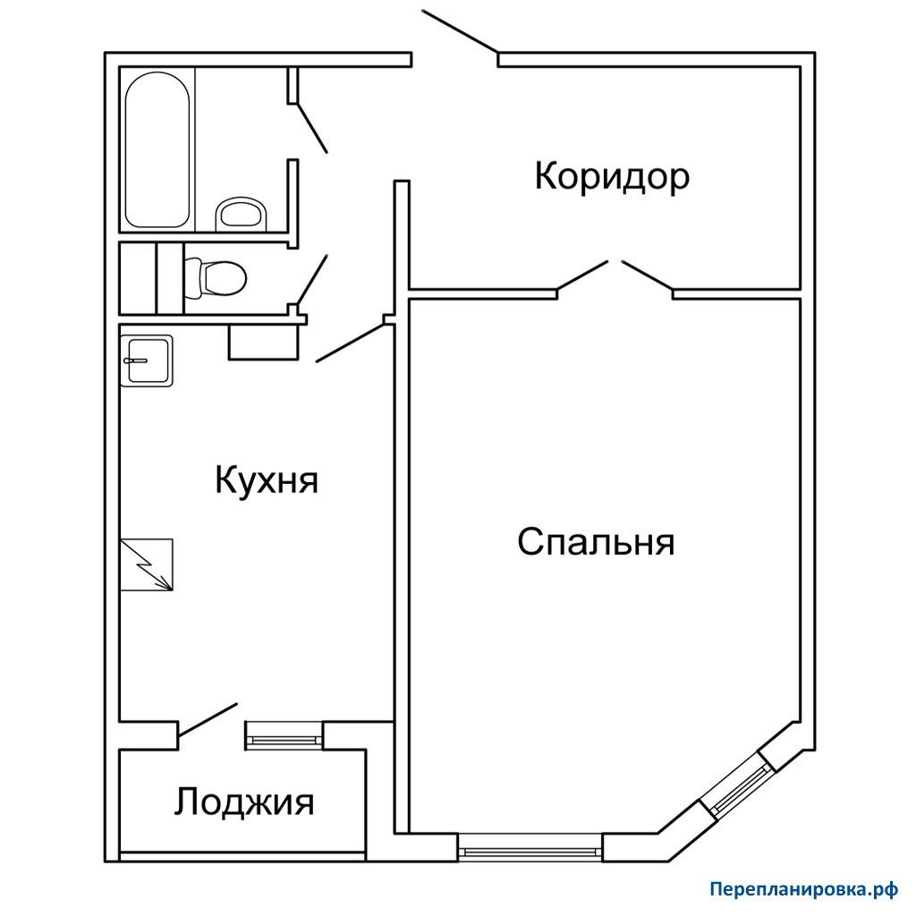 Планировка однокомнатной квартиры с лоджией..