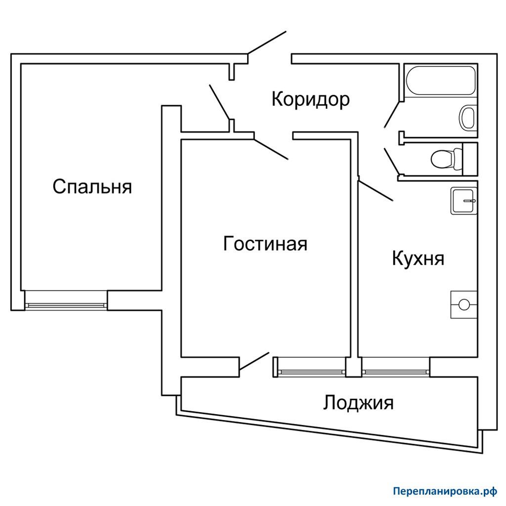 Перепланировка двухкомнатной квартиры ii-68, схема, фото.