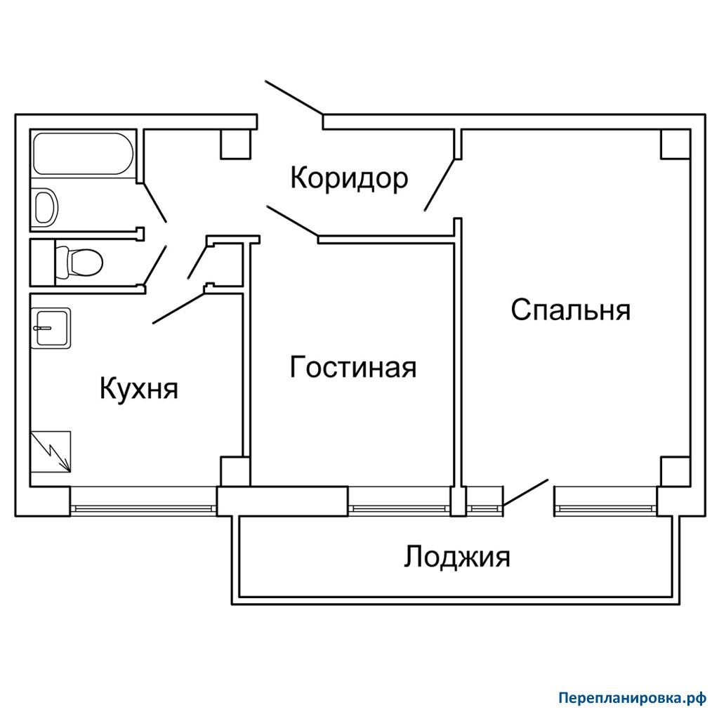 Перепланировка 2 двухкомнатной квартиры мг-601, схема, фото.