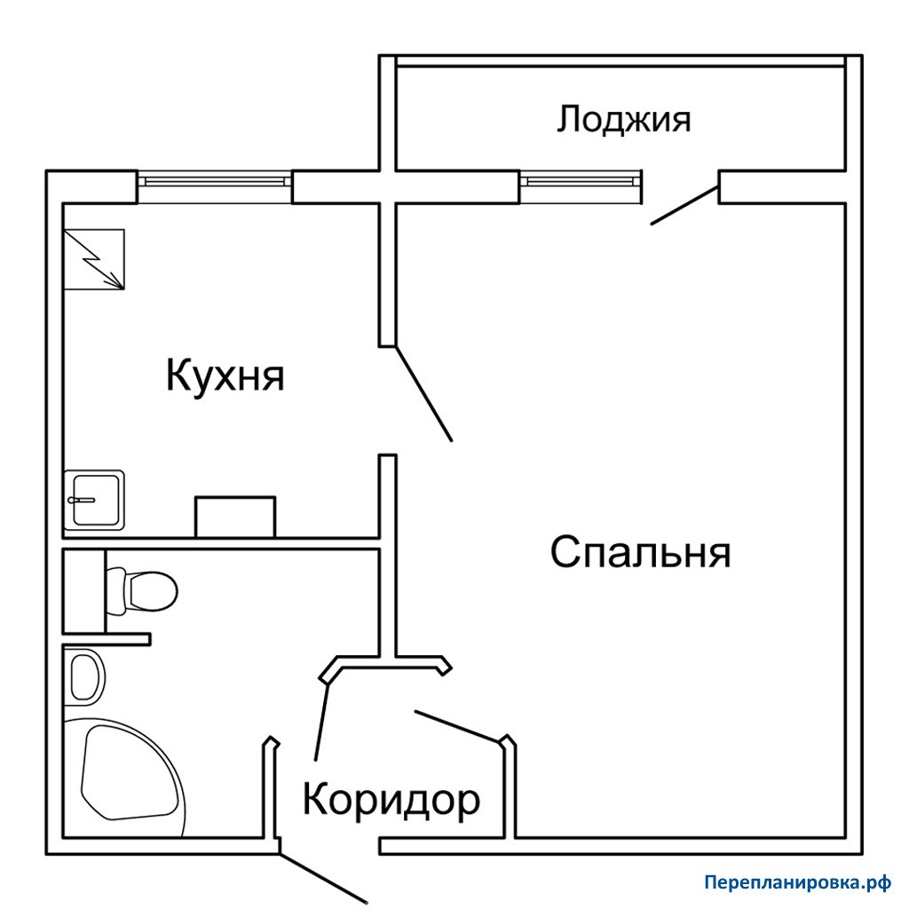Перепланировка однокомнатной квартиры п-46, план, фото.