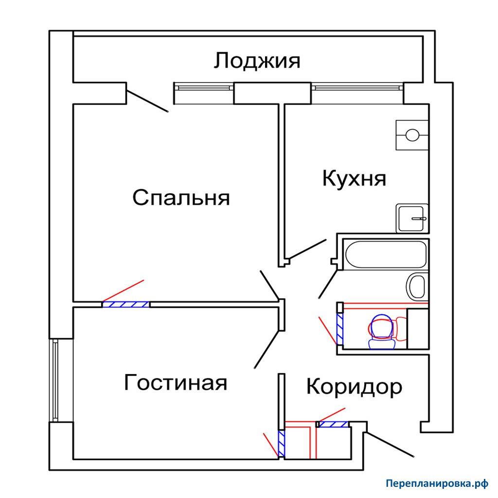 Перепланировка 4 двухкомнатной квартиры и-209а, схема, фото.