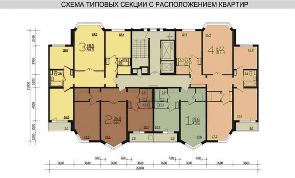 П 55 планировка с размерами балконов.